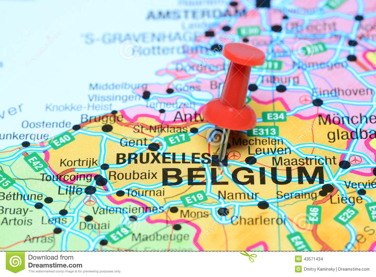 Map of Belgium with a pin on Belgium
